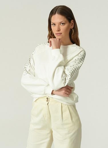NGSTYLE Kadın Taş Detaylı  Sweatshirt NGKAW20SW0004 Ekru